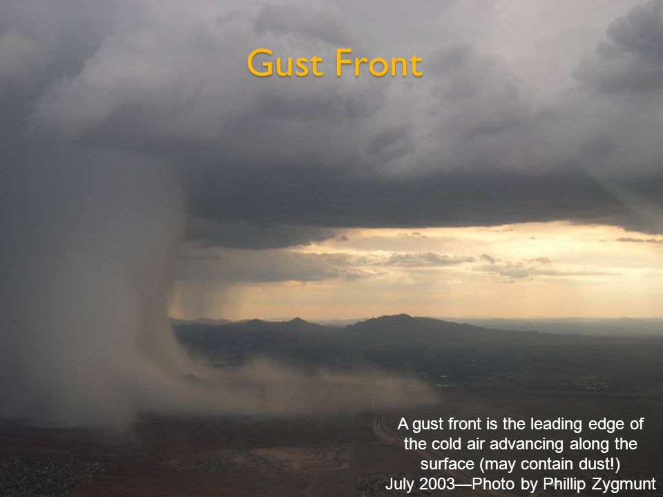 A gust front is the leading edge of the cold air advancing along the surface (may contain dust!) July 2003—Photo by Phillip Zygmunt Gust Front