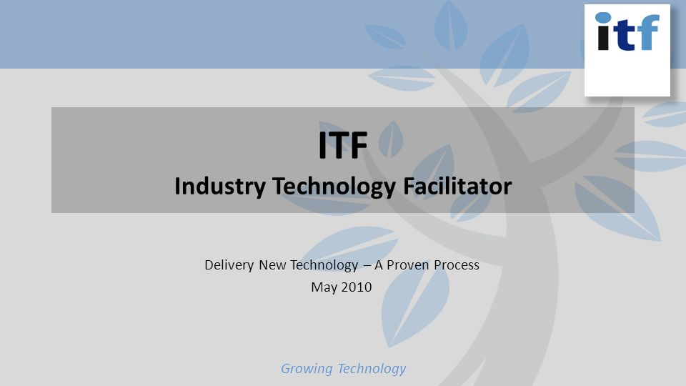 ITF Industry Technology Facilitator Delivery New Technology – A Proven Process May 2010 Growing Technology