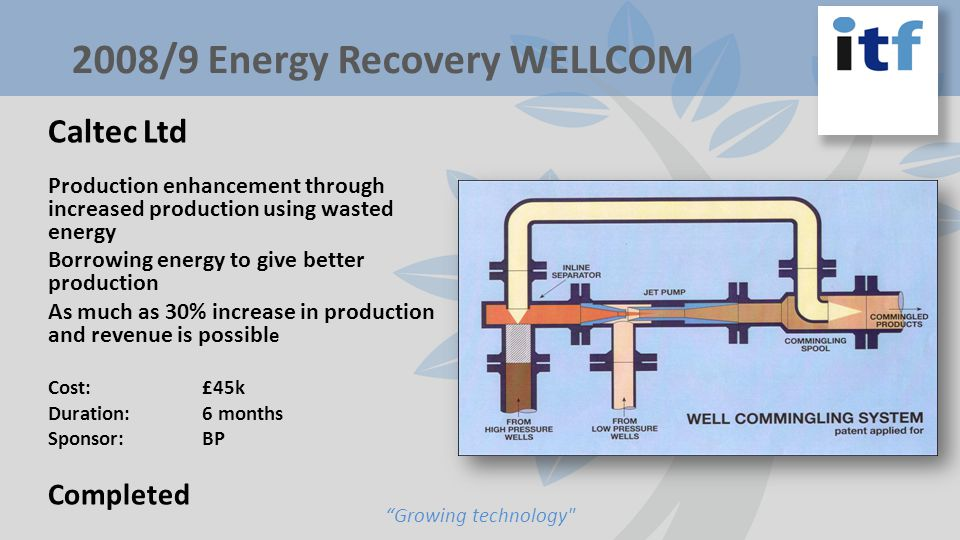 Caltec Ltd Production enhancement through increased production using wasted energy Borrowing energy to give better production As much as 30% increase in production and revenue is possibl e Cost:£45k Duration: 6 months Sponsor: BP Completed Growing technology 2008/9 Energy Recovery WELLCOM