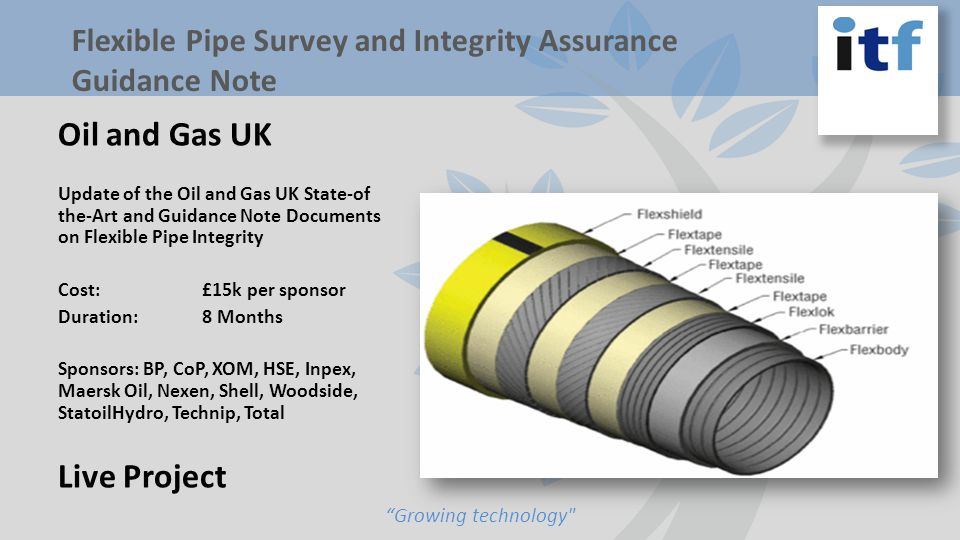 Oil and Gas UK Update of the Oil and Gas UK State-of the-Art and Guidance Note Documents on Flexible Pipe Integrity Cost: £15k per sponsor Duration: 8 Months Sponsors: BP, CoP, XOM, HSE, Inpex, Maersk Oil, Nexen, Shell, Woodside, StatoilHydro, Technip, Total Live Project Growing technology Flexible Pipe Survey and Integrity Assurance Guidance Note