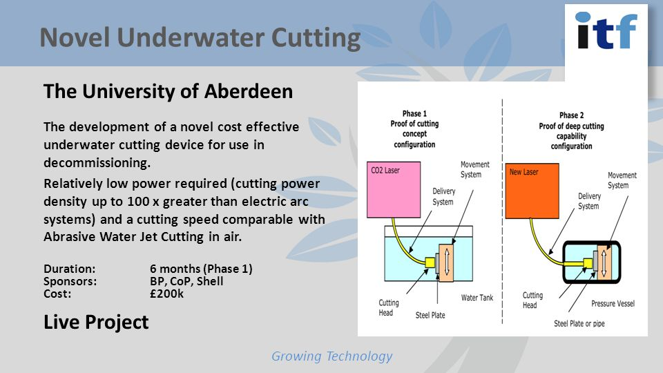 The University of Aberdeen The development of a novel cost effective underwater cutting device for use in decommissioning.