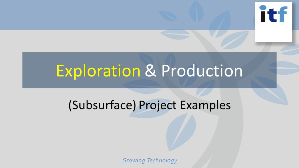 Exploration & Production (Subsurface) Project Examples Growing Technology