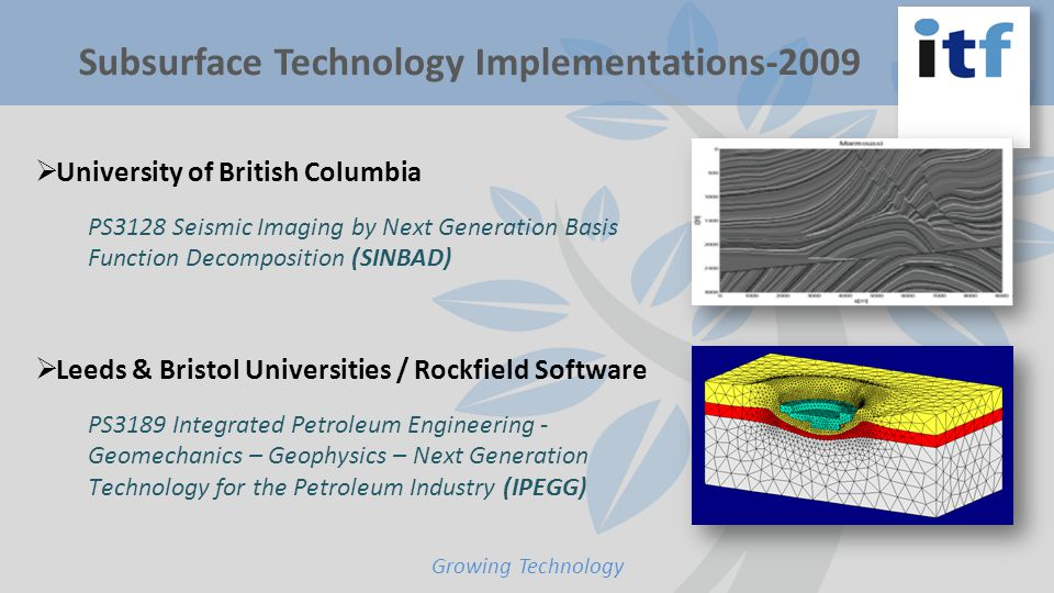Subsurface Technology Implementations-2009 Growing Technology  University of British Columbia PS3128 Seismic Imaging by Next Generation Basis Function Decomposition (SINBAD)  Leeds & Bristol Universities / Rockfield Software PS3189 Integrated Petroleum Engineering - Geomechanics – Geophysics – Next Generation Technology for the Petroleum Industry (IPEGG)