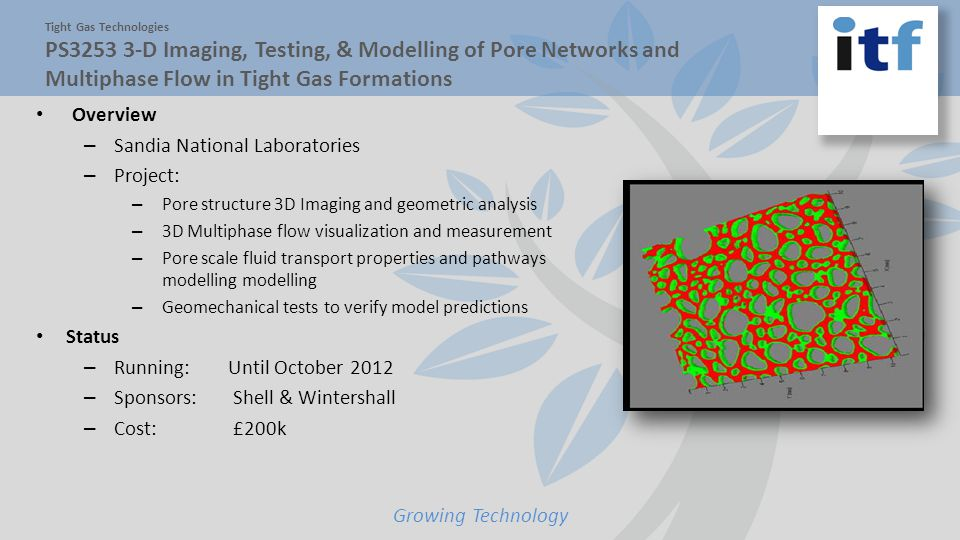 Growing Technology Tight Gas Technologies PS3253 3-D Imaging, Testing, & Modelling of Pore Networks and Multiphase Flow in Tight Gas Formations Overview – Sandia National Laboratories – Project: – Pore structure 3D Imaging and geometric analysis – 3D Multiphase flow visualization and measurement – Pore scale fluid transport properties and pathways modelling modelling – Geomechanical tests to verify model predictions Status – Running:Until October 2012 – Sponsors: Shell & Wintershall – Cost: £200k