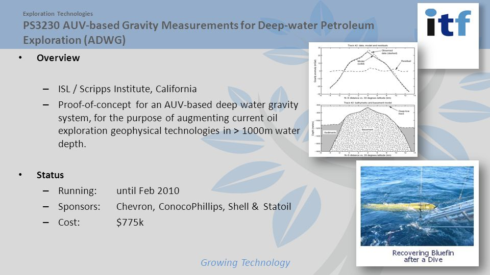 Growing Technology Overview – ISL / Scripps Institute, California – Proof-of-concept for an AUV-based deep water gravity system, for the purpose of augmenting current oil exploration geophysical technologies in > 1000m water depth.