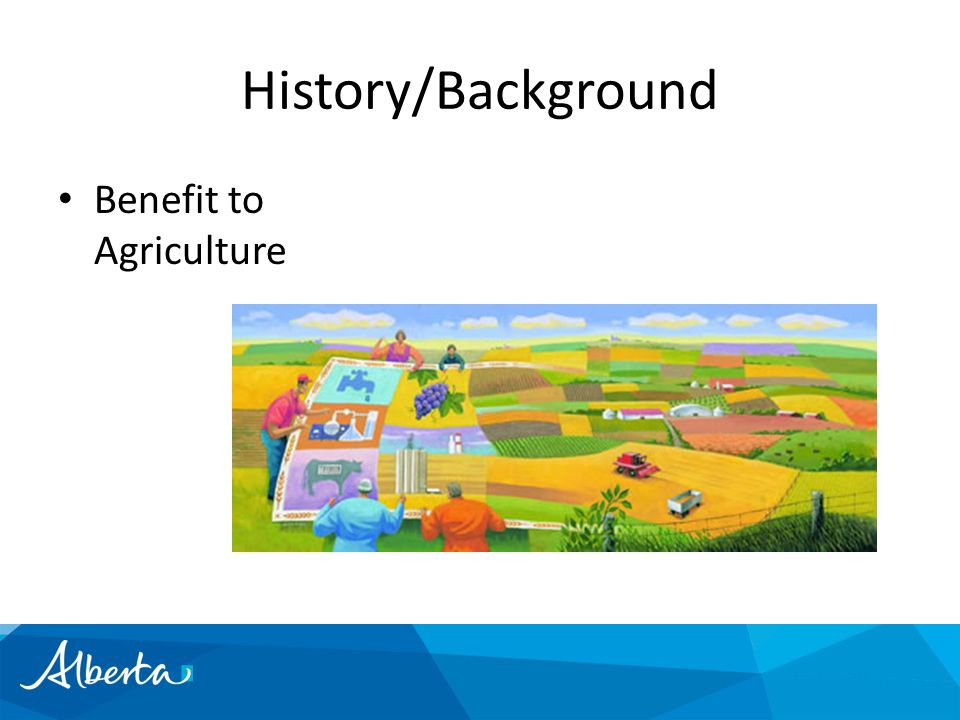 History/Background Benefit to Agriculture