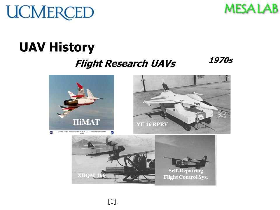 MESA LAB UAV History Kettering Bug (1918) Aerial Torpedo 1970s HiMAT YF-16 RPRV Self-Repairing Flight Control Sys.