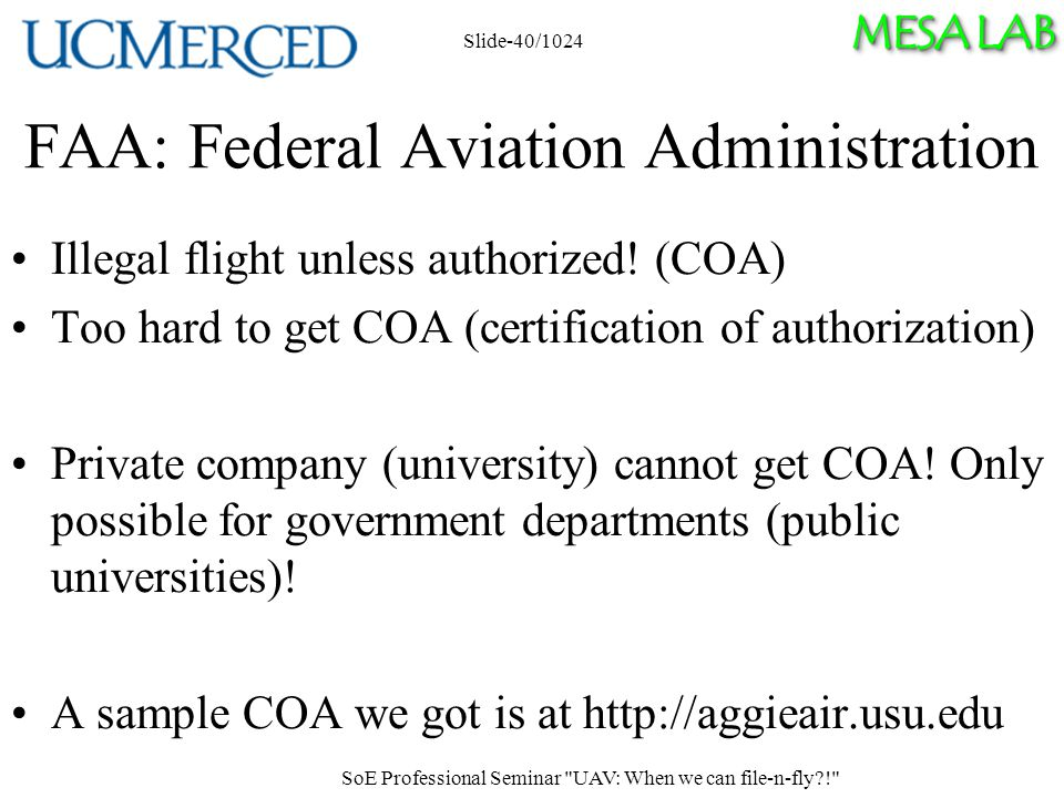 MESA LAB FAA: Federal Aviation Administration Illegal flight unless authorized.