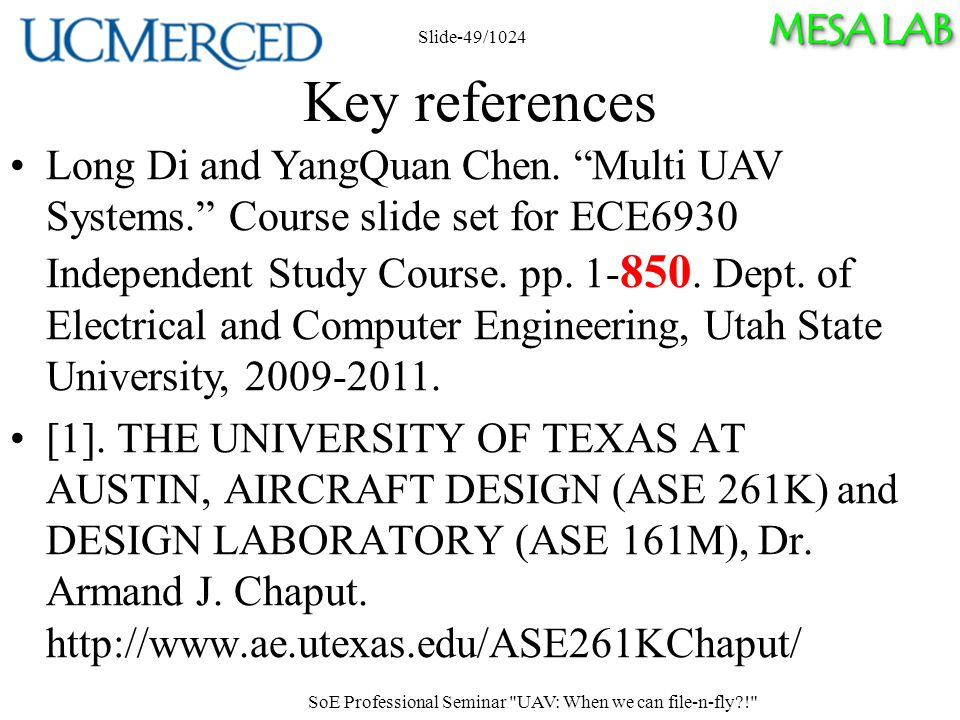 MESA LAB Key references Long Di and YangQuan Chen.