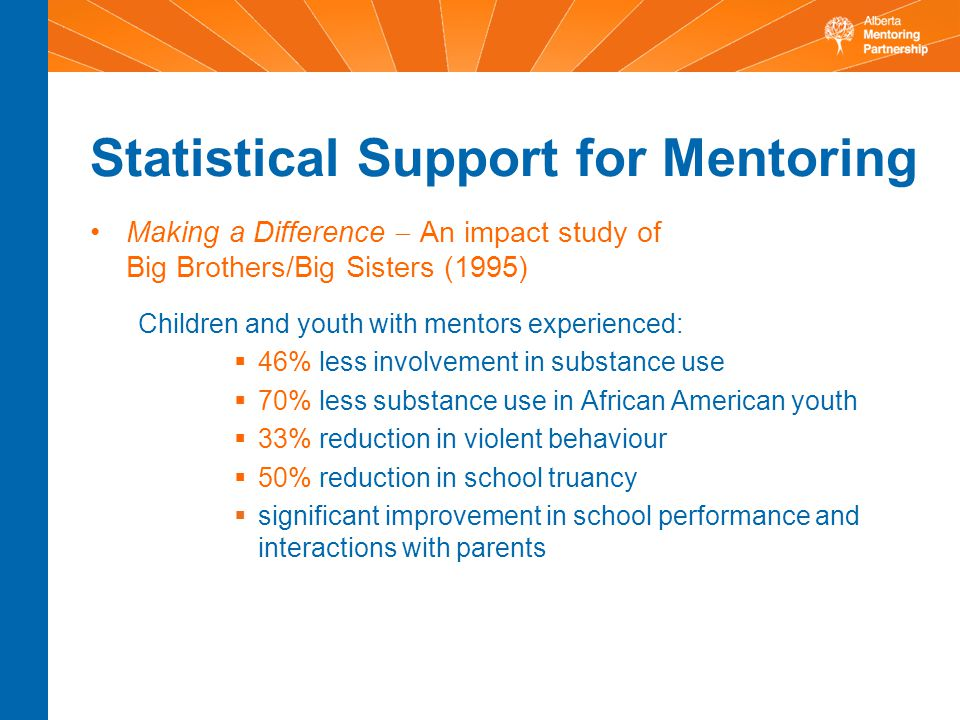 Statistical Support for Mentoring Making a Difference  An impact study of Big Brothers/Big Sisters (1995) Children and youth with mentors experienced:  46% less involvement in substance use  70% less substance use in African American youth  33% reduction in violent behaviour  50% reduction in school truancy  significant improvement in school performance and interactions with parents