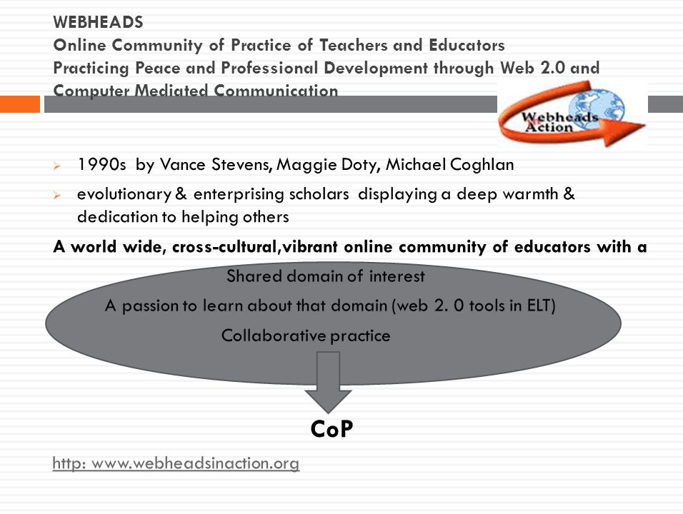 WEBHEADS Online Community of Practice of Teachers and Educators Practicing Peace and Professional Development through Web 2.0 and Computer Mediated Communication