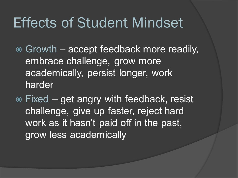 Effects of Student Mindset  Growth – accept feedback more readily, embrace challenge, grow more academically, persist longer, work harder  Fixed – get angry with feedback, resist challenge, give up faster, reject hard work as it hasn't paid off in the past, grow less academically