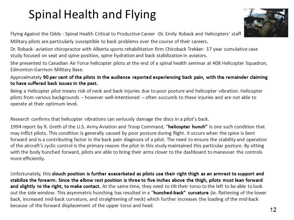 Spinal Health and Flying Flying Against the Odds - Spinal Health Critical to Productive Career -Dr.