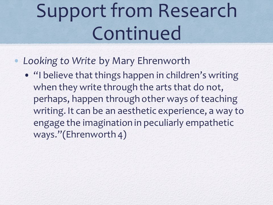 """Support from Research Continued Looking to Write by Mary Ehrenworth """"I believe that things happen in children's writing when they write through the ar"""