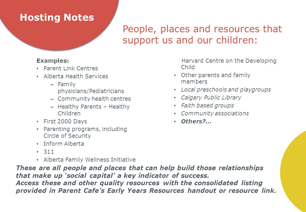 Hosting Notes Examples: Parent Link Centres Alberta Health Services – Family physicians/Pediatricians – Community health centres – Healthy Parents – Healthy Children First 2000 Days Parenting programs, including Circle of Security Inform Alberta 311 Alberta Family Wellness Initiative Harvard Centre on the Developing Child Other parents and family members Local preschools and playgroups Calgary Public Library Faith based groups Community associations Others?… People, places and resources that support us and our children: These are all people and places that can help build those relationships that make up 'social capital' a key indicator of success.
