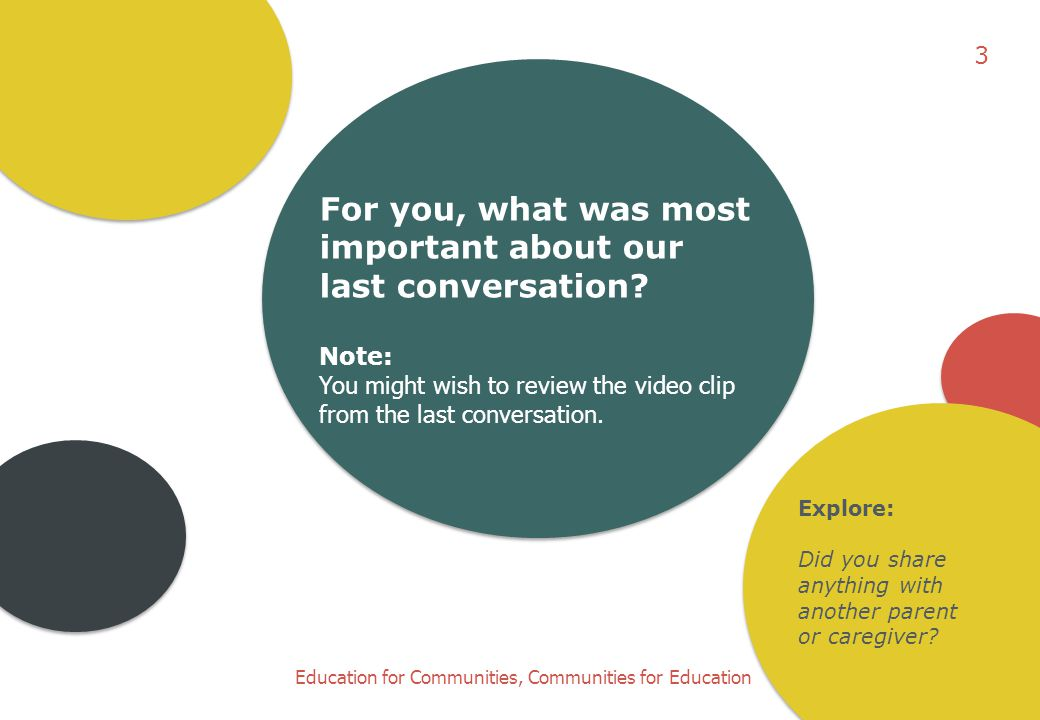 Education for Communities, Communities for Education For you, what was most important about our last conversation.
