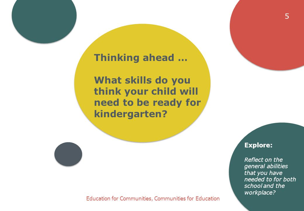 Education for Communities, Communities for Education Thinking ahead … What skills do you think your child will need to be ready for kindergarten.