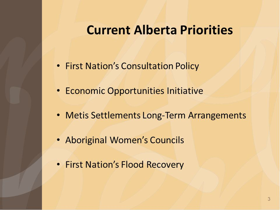 Current Alberta Priorities First Nation's Consultation Policy Economic Opportunities Initiative Metis Settlements Long-Term Arrangements Aboriginal Women's Councils First Nation's Flood Recovery 3