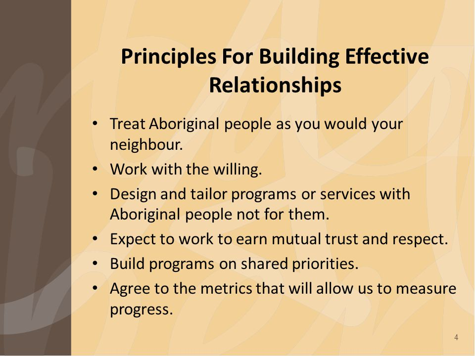 Principles For Building Effective Relationships Treat Aboriginal people as you would your neighbour.
