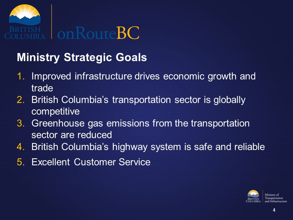 1.Improved infrastructure drives economic growth and trade 2.British Columbia's transportation sector is globally competitive 3.Greenhouse gas emissio