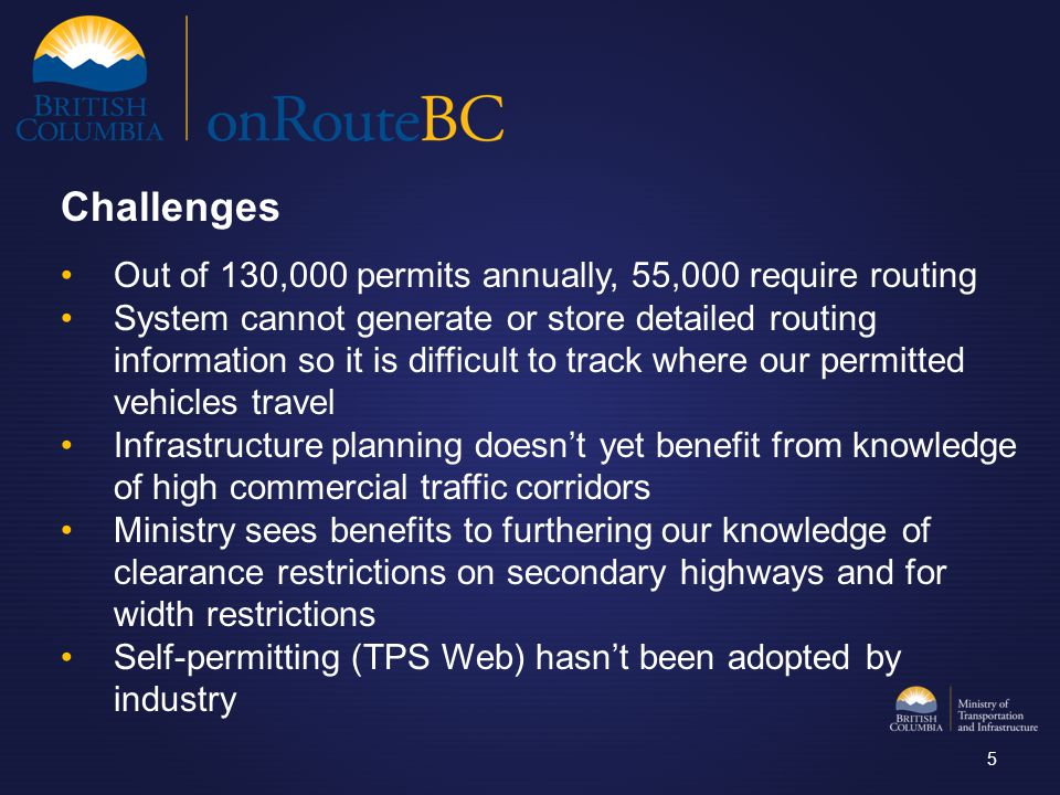 Out of 130,000 permits annually, 55,000 require routing System cannot generate or store detailed routing information so it is difficult to track where