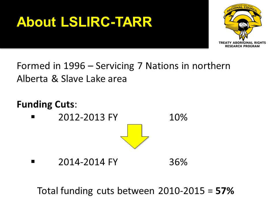 About LSLIRC-TARR Formed in 1996 – Servicing 7 Nations in northern Alberta & Slave Lake area Funding Cuts:  2012-2013 FY 10%  2014-2014 FY36% Total funding cuts between 2010-2015 = 57%