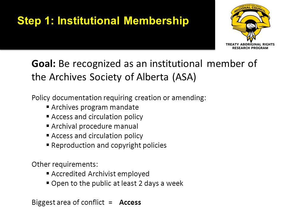 Step 1: Institutional Membership Goal: Be recognized as an institutional member of the Archives Society of Alberta (ASA) Policy documentation requiring creation or amending:  Archives program mandate  Access and circulation policy  Archival procedure manual  Access and circulation policy  Reproduction and copyright policies Other requirements:  Accredited Archivist employed  Open to the public at least 2 days a week Biggest area of conflict = Access