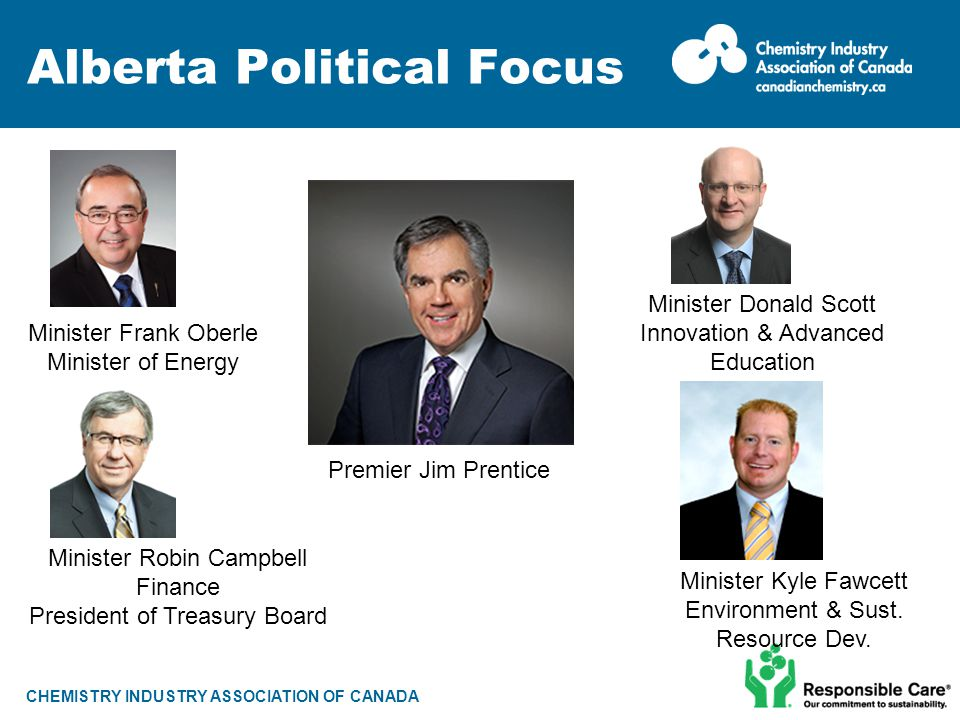 CHEMISTRY INDUSTRY ASSOCIATION OF CANADA Alberta Political Focus Premier Jim Prentice Minister Robin Campbell Finance President of Treasury Board Mini