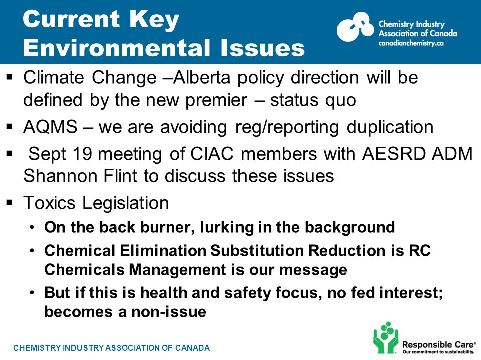 CHEMISTRY INDUSTRY ASSOCIATION OF CANADA Current Key Environmental Issues  Climate Change –Alberta policy direction will be defined by the new premie