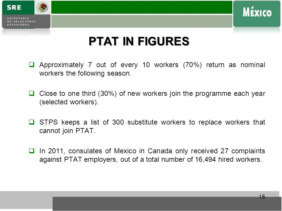 PTAT IN FIGURES  Approximately 7 out of every 10 workers (70%) return as nominal workers the following season.