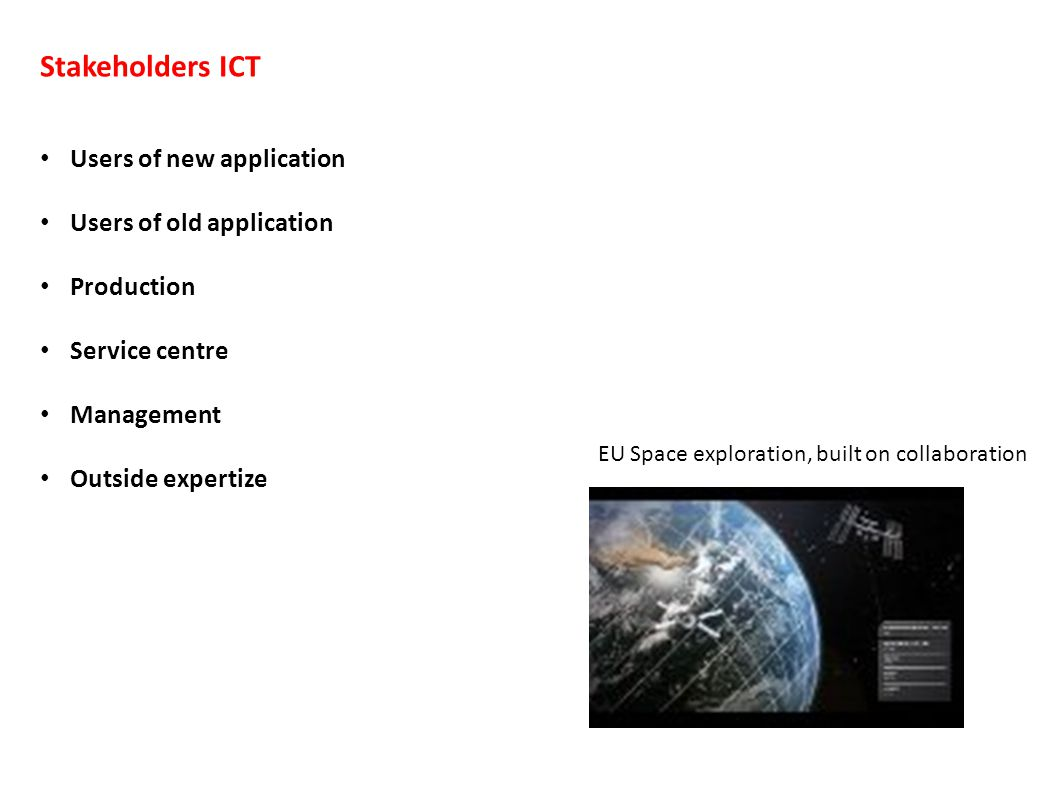 Stakeholders ICT Users of new application Users of old application Production Service centre Management Outside expertize EU Space exploration, built on collaboration