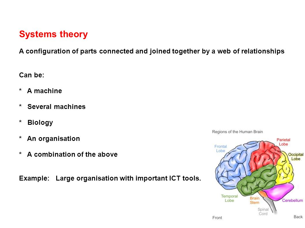 Systems theory A configuration of parts connected and joined together by a web of relationships Can be: * A machine * Several machines * Biology * An