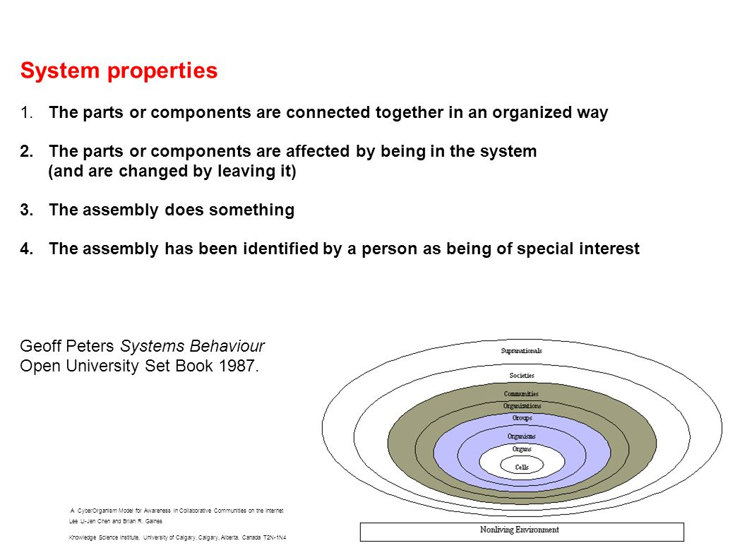 System properties 1.The parts or components are connected together in an organized way 2.
