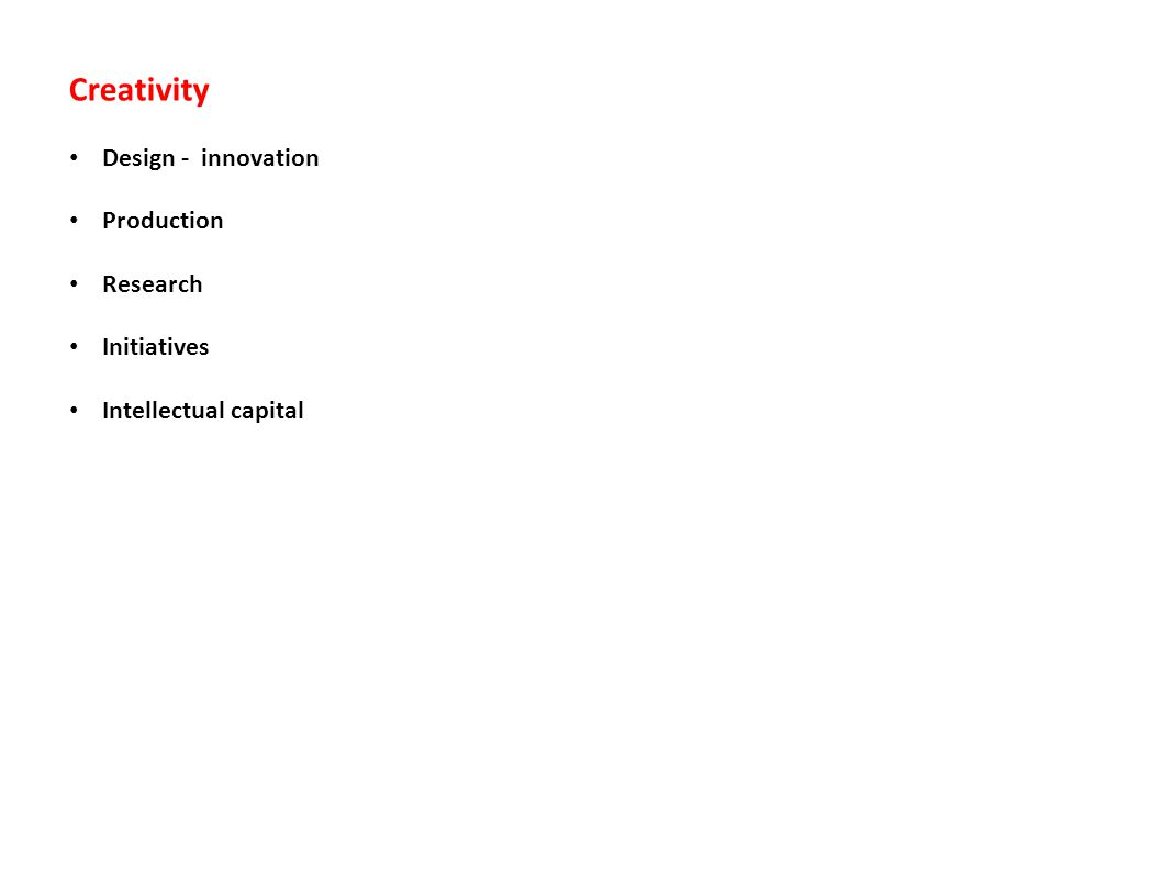Creativity Design - innovation Production Research Initiatives Intellectual capital
