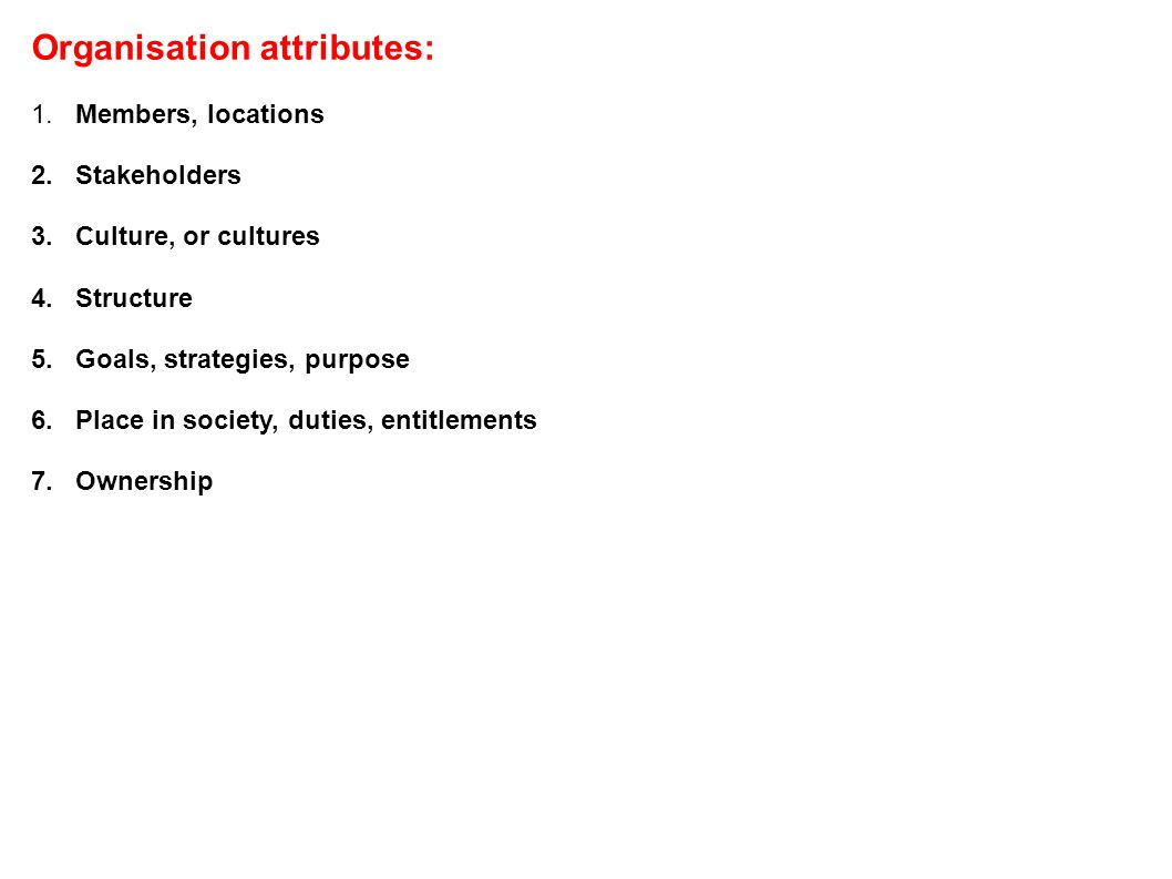 Organisation attributes: 1. Members, locations 2.