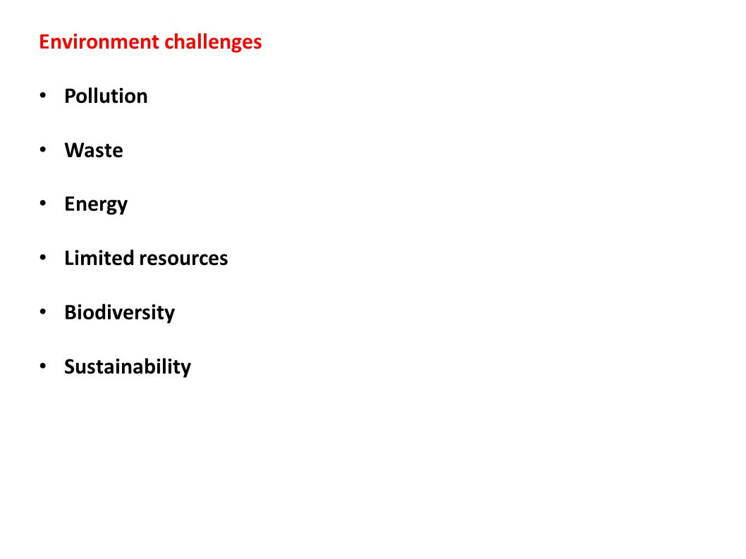 Environment challenges Pollution Waste Energy Limited resources Biodiversity Sustainability