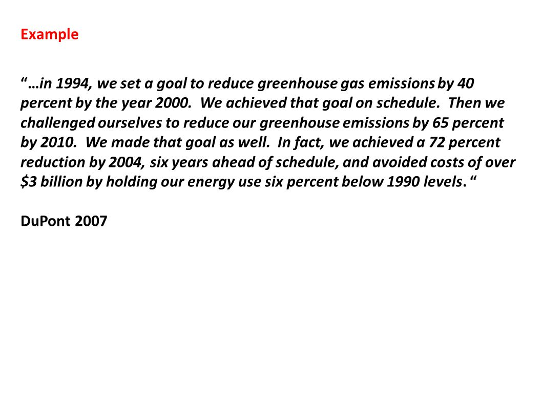 "Example ""…in 1994, we set a goal to reduce greenhouse gas emissions by 40 percent by the year 2000. We achieved that goal on schedule. Then we challen"