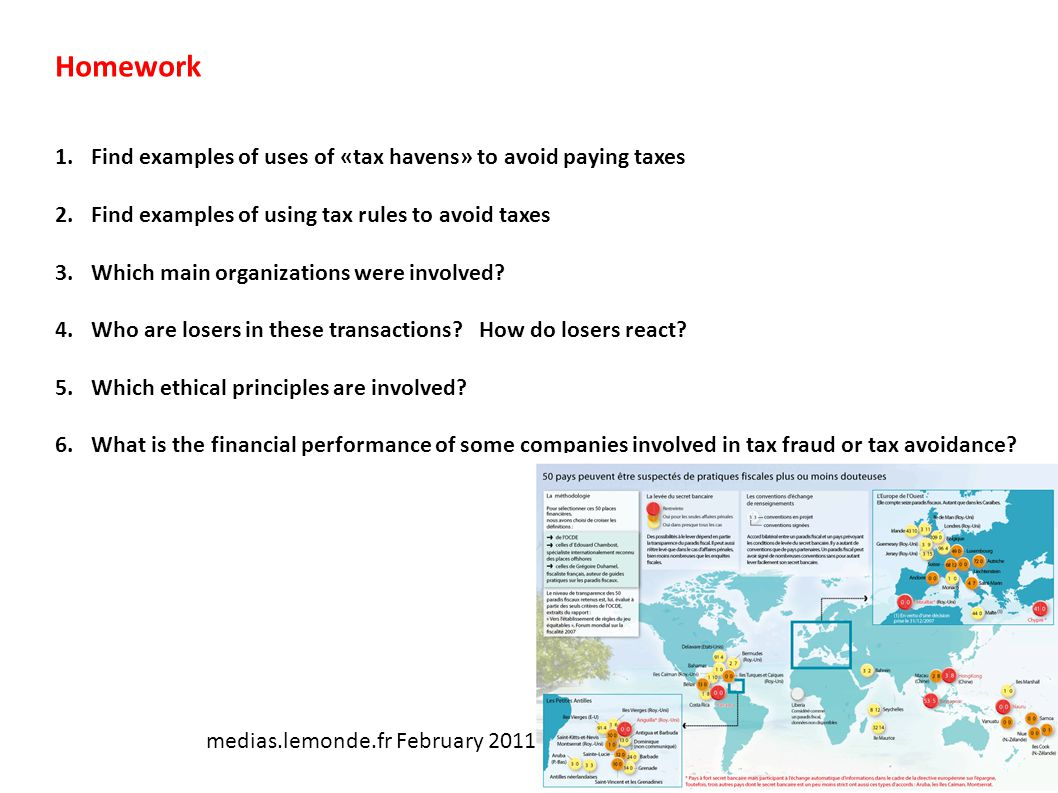 Homework 1.Find examples of uses of «tax havens» to avoid paying taxes 2.Find examples of using tax rules to avoid taxes 3.Which main organizations we