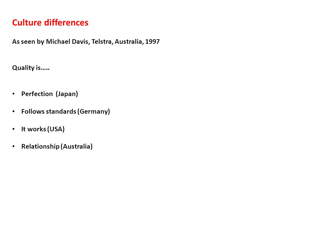 Culture differences As seen by Michael Davis, Telstra, Australia, 1997 Quality is…..