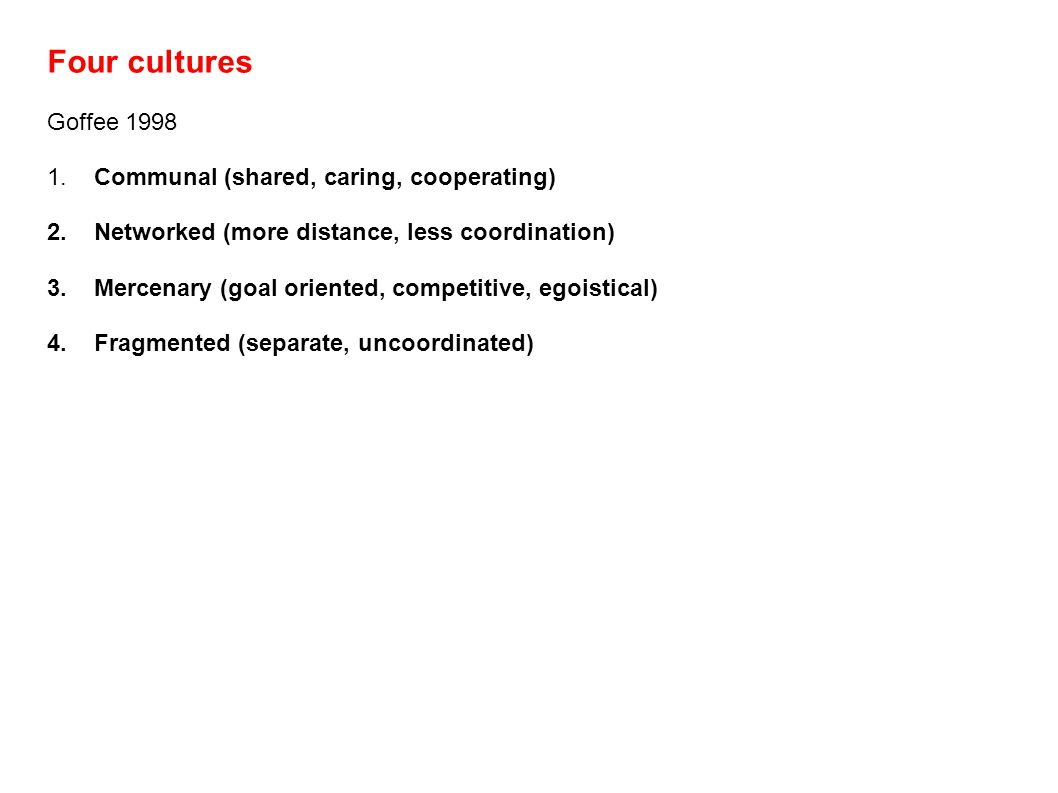 Four cultures Goffee 1998 1. Communal (shared, caring, cooperating) 2. Networked (more distance, less coordination) 3. Mercenary (goal oriented, compe