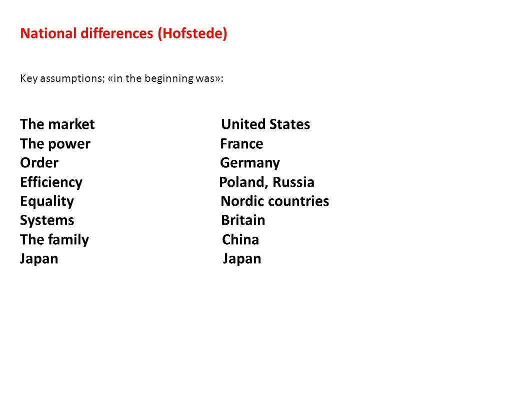 National differences (Hofstede) Key assumptions; «in the beginning was»: The market United States The power France Order Germany Efficiency Poland, Ru