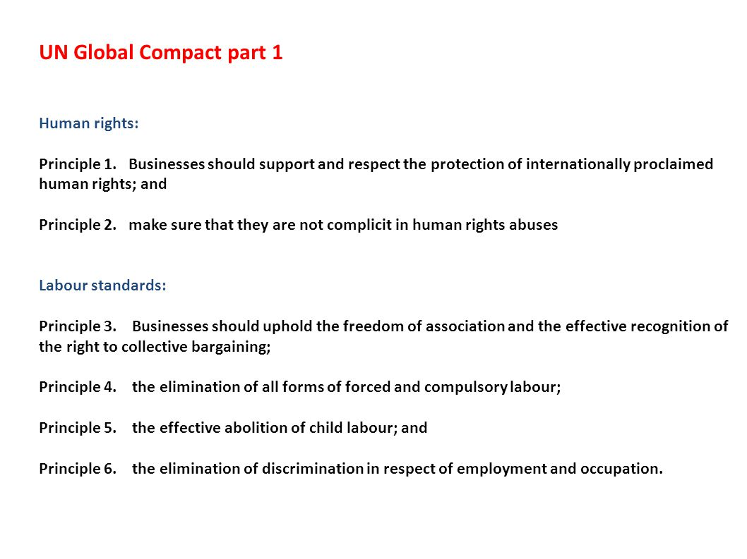 UN Global Compact part 1 Human rights: Principle 1.