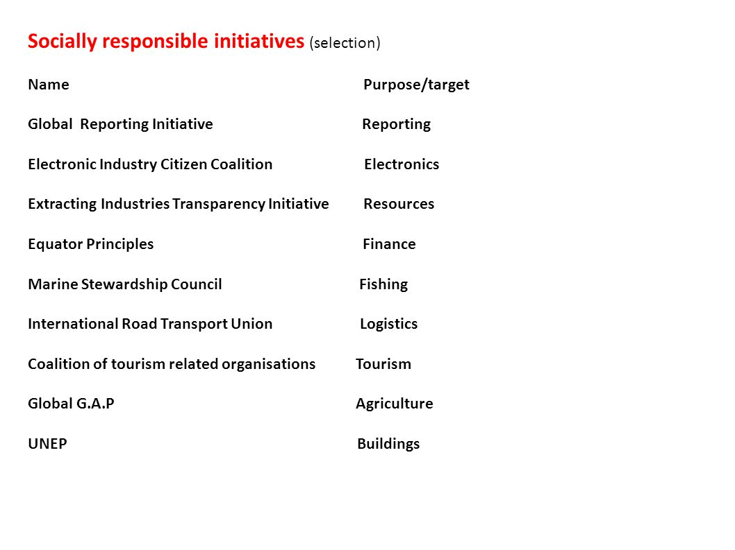 Socially responsible initiatives (selection) Name Purpose/target Global Reporting Initiative Reporting Electronic Industry Citizen Coalition Electronics Extracting Industries Transparency Initiative Resources Equator Principles Finance Marine Stewardship Council Fishing International Road Transport Union Logistics Coalition of tourism related organisations Tourism Global G.A.P Agriculture UNEP Buildings