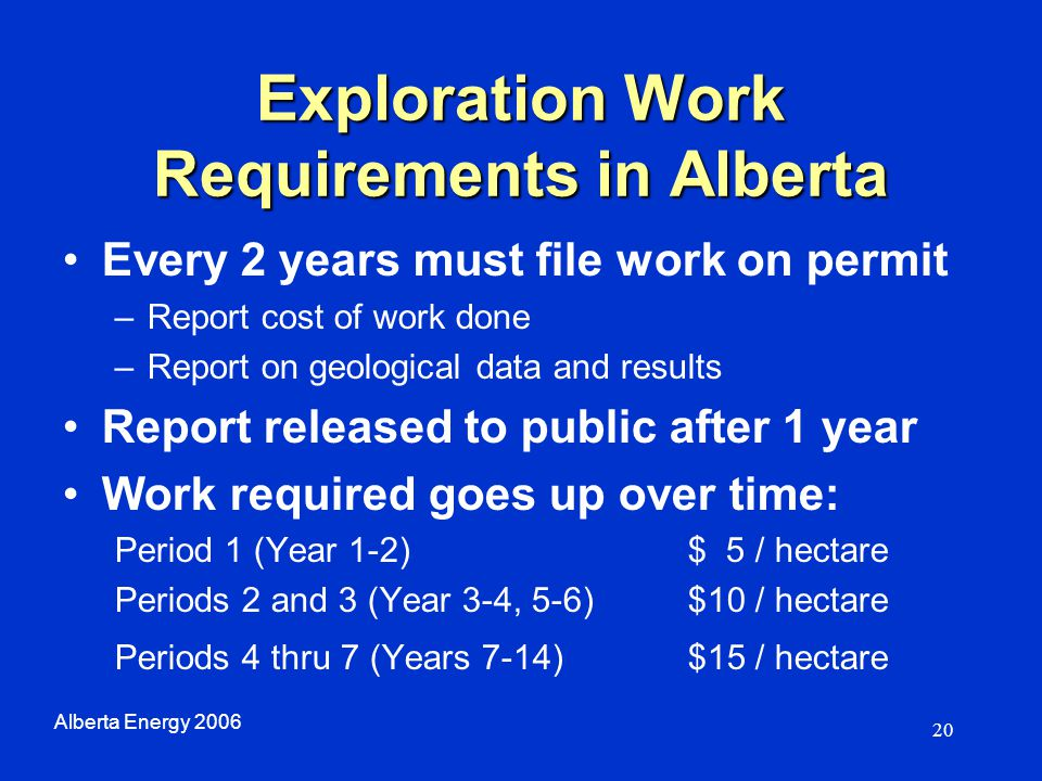 20 Exploration Work Requirements in Alberta Every 2 years must file work on permit –Report cost of work done –Report on geological data and results Re