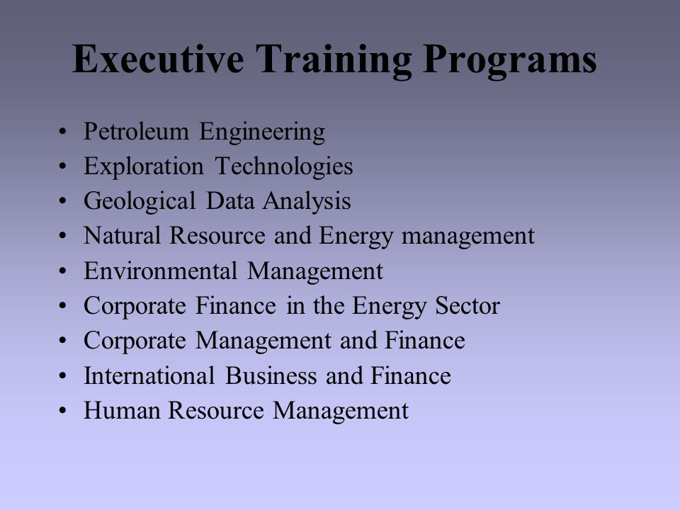 Executive Training Staff Leading faculty members from Canadian and U.S.