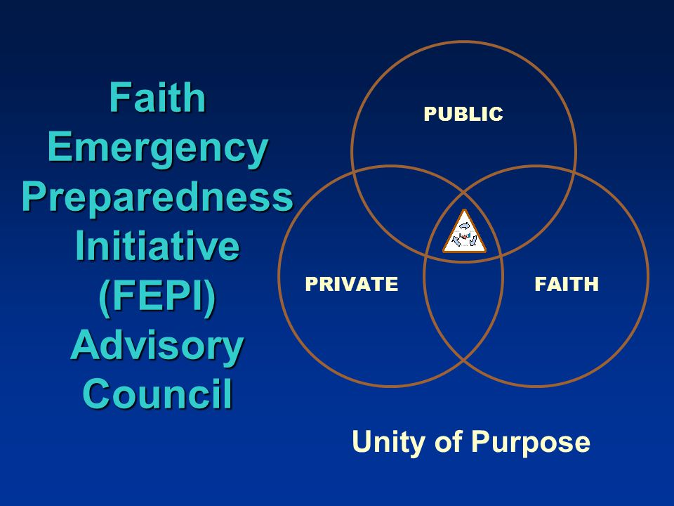 Faith Emergency Preparedness Initiative (FEPI) Advisory Council PUBLIC PRIVATE FAITH Unity of Purpose