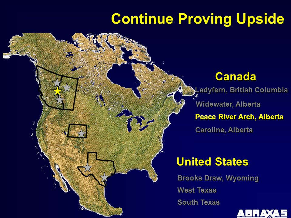 Peace River Arch, Alberta Ladyfern, British Columbia Caroline, Alberta West Texas Brooks Draw, Wyoming Continue Proving Upside Canada United States Widewater, Alberta South Texas Peace River Arch, Alberta