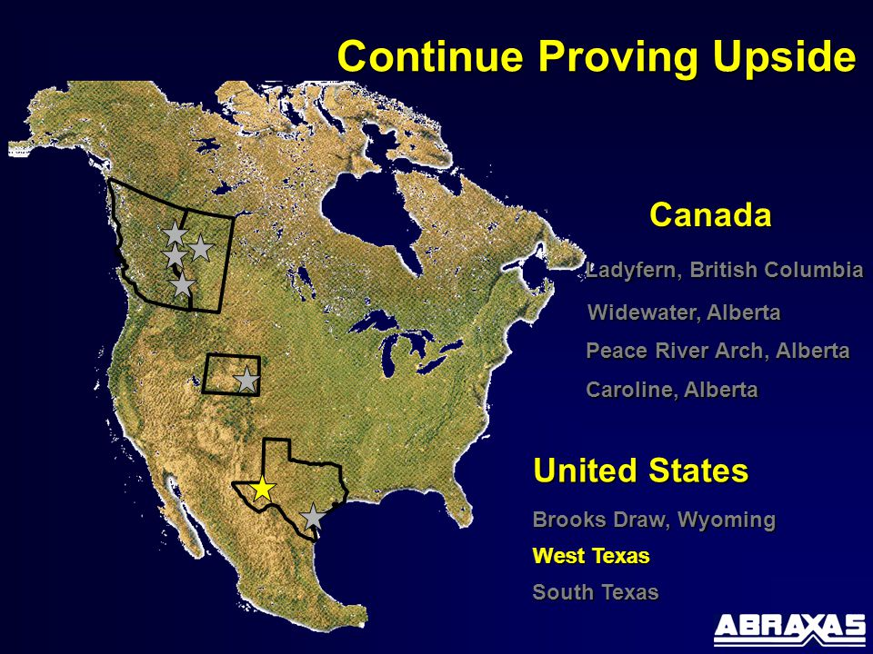 Brooks Draw, Wyoming Canada United States Continue Proving Upside Ladyfern, British Columbia Caroline, Alberta Peace River Arch, Alberta West Texas Widewater, Alberta South Texas West Texas