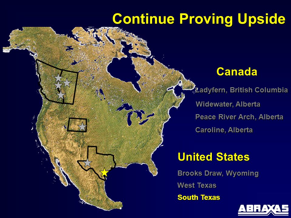 Brooks Draw, Wyoming Canada United States Continue Proving Upside Ladyfern, British Columbia Caroline, Alberta Peace River Arch, Alberta West Texas Widewater, Alberta South Texas
