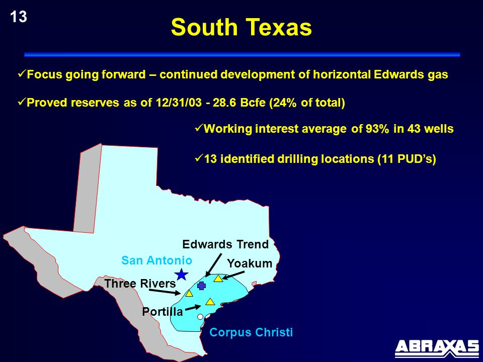 13 identified drilling locations (11 PUD's) Proved reserves as of 12/31/03 - 28.6 Bcfe (24% of total) Working interest average of 93% in 43 wells San Antonio Yoakum Focus going forward – continued development of horizontal Edwards gas Edwards Trend Corpus Christi Three Rivers Portilla 13